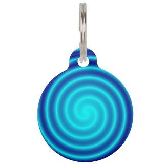Spiraling Blue Vertigo Pet Name Tag