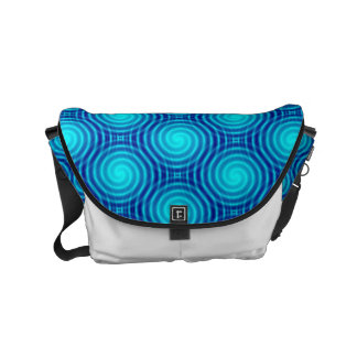 Spiraling Blue Vertigo Small Messenger Bag