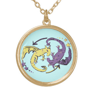 Spiraling Dragons Gold Plated Necklace