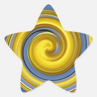 Spiralmuster azules amarillo pegatina en forma de estrella