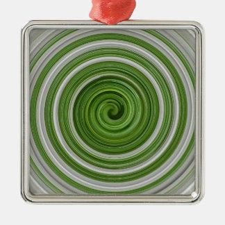 spiralpattern Verde-blanco Ornamentos De Navidad
