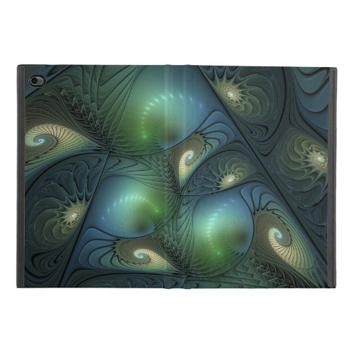 Spirals Beige Green Turquoise Abstract Fractal Art iPad Mini 4 Case