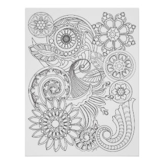 Spirals Flowers: MEDIUM DIY Coloring by Sonja A.S. Poster