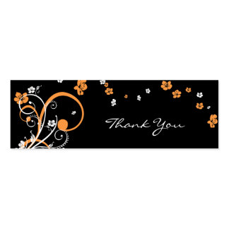Spirals & Flowers Thank You Tag Card Double-Sided Mini Business Cards (Pack Of 20)