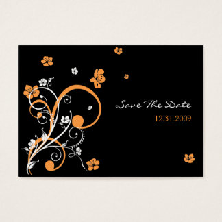 Spirals & Flowers Wedding Save The Date Minicard 3 Business Card