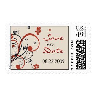 Spirals & Flowers Wedding Save the Date Postage