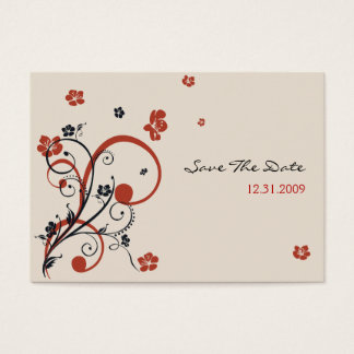 Spirals & Flowers Wedding Save TheDate Minicard Business Card