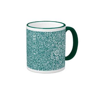 Spirals - Hunter Green on White Ringer Mug