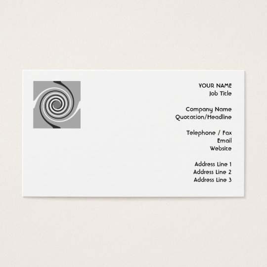 Spirals in Gray and White. Stylish swirls. Business Card