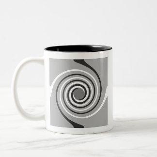 Spirals in Gray and White. Stylish swirls. Mugs