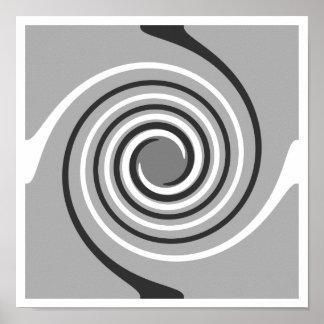Spirals in Gray and White. Stylish swirls. Poster