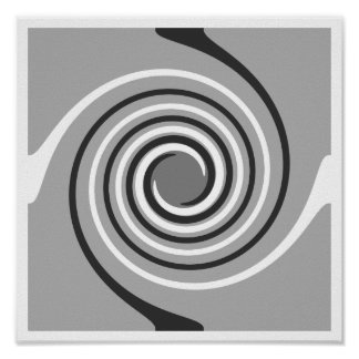 Spirals in Gray and White. Stylish swirls. Posters