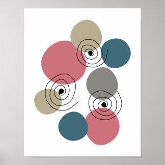 Spirals Midcentury Retro Pink Blue Tan Poster