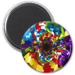 Spirals of Joy Kaleidoscope Fractal Art Refrigerator Magnet