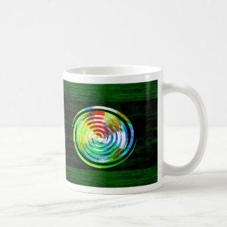 Spirals on Green Woodgrain Coffee Mug
