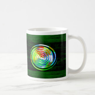 Spirals on Green Woodgrain Classic White Coffee Mug