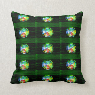 Spirals on Green Woodgrain Throw Pillow