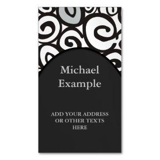 Spirals Pattern Black & White + your ideas Business Card Magnet