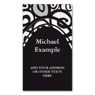 Spirals Pattern Black & White + your ideas Magnetic Business Card
