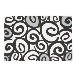 Spirals Pattern Black & White + your ideas Placemat