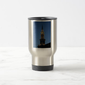 Spire of a building against dark blue twighlight 15 oz stainless steel travel mug