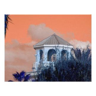spire roof against orange sky and trees florida flyer design