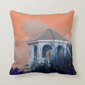 spire roof against orange sky and trees florida throw pillow