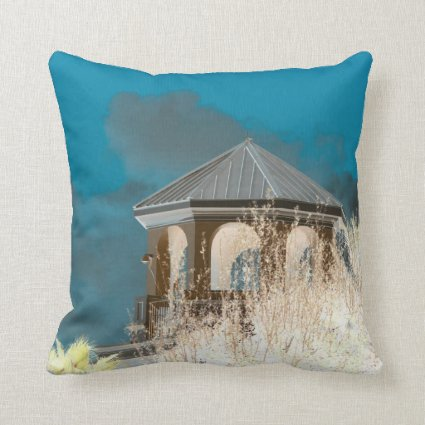 spire roof inverted gazebo sky and trees florida throw pillow