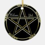 Spirit, Air, Fire Pentagram Tree Ornament