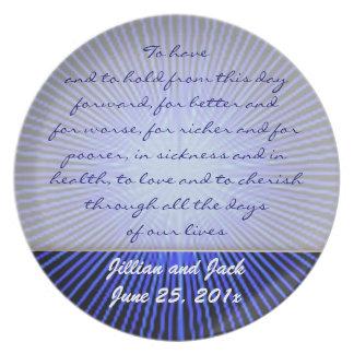 Spirit Circle Rose WEDDING Vows Display Melamine Plate
