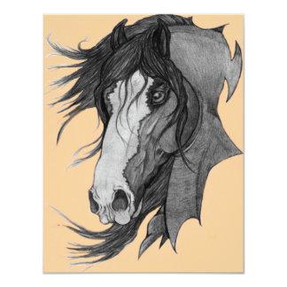 'Spirit' Clydesdale Stallion Horse Art 4.25x5.5 Paper Invitation Card