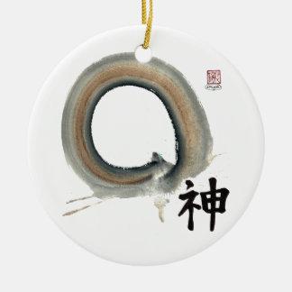 Spirit Enso, Kanji for spirit Ceramic Ornament