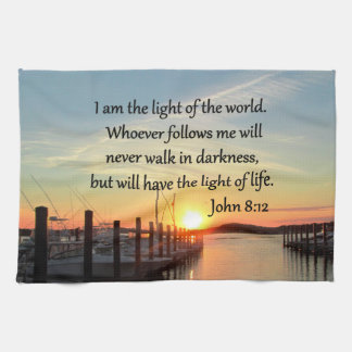 SPIRIT FILLED JOHN 8;12 SCRIPTURE DESIGN KITCHEN TOWEL