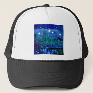 Spirit Lights Blue Night Marshy Meadow Orbs Trucker Hat