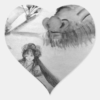 Spirit of dragon and cherry tree heart sticker