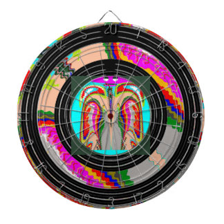 Spirit of Man Print on Center -  Black Wheels Dart Board