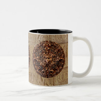 Spirit of Mexico & Peru, Mayan Incan Design Two-Tone Coffee Mug