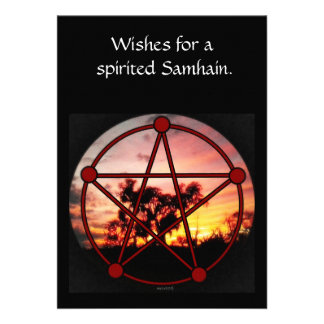 Spirit of Samhain Pentacle Single Pg. Greeting Personalized Invite