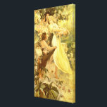 """Spirit of Spring by Alphonse Mucha Canvas Print<br><div class=""""desc"""">&quot;Spirit of Spring&quot; is a beautiful oil painting by Czech artist,  Alphonse Mucha,  in 1894.</div>"""