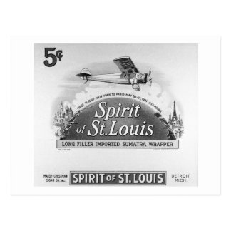 Spirit of St. Louis Vintage Cigar Box Label Postcard