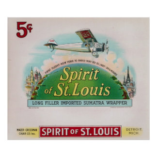 Spirit of St. Louis Vintage Cigar Label Poster