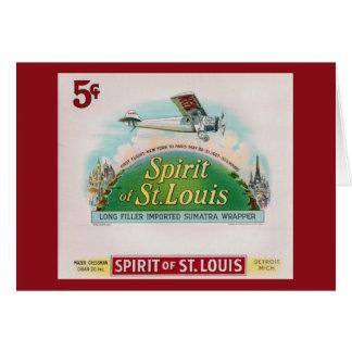 Spirit of St. Louis Vintage Cigar Label Retro Greeting Card
