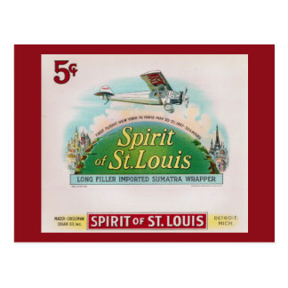Spirit of St. Louis Vintage Cigar Label Retro Postcard