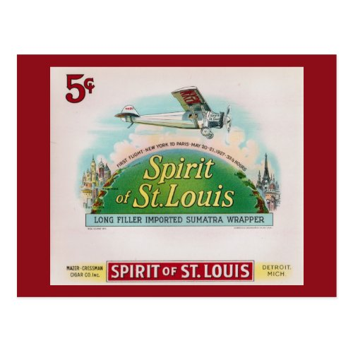 Spirit of St Louis Vintage Cigar Label Retro Postcard