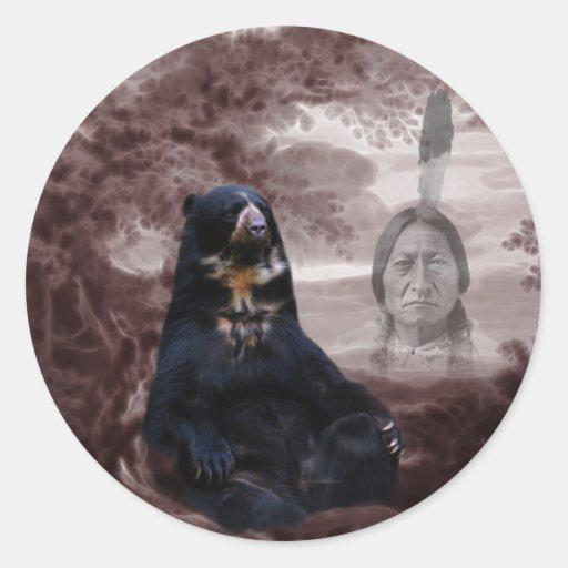 Spirit of the black bear round stickers