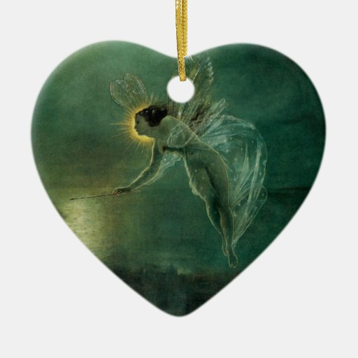 Spirit of the Night by Grimshaw, Victorian Fairy Double-Sided Heart Ceramic Christmas Ornament