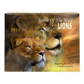 Spirit Of The Wild LIONS Art Calendar 2014