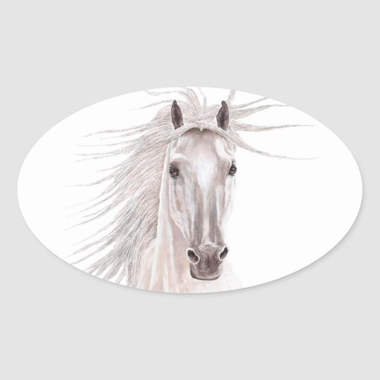 Spirit of the Wind Horse -vintage- Oval Sticker