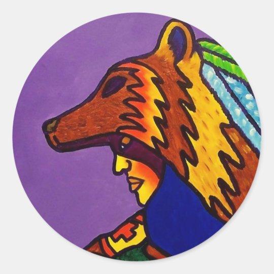 Spirit of Wolf 3 by Piliero Classic Round Sticker