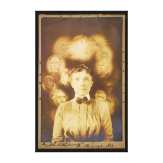 Spirit Photograph of Ghosts Surrounding a Woman Canvas Print